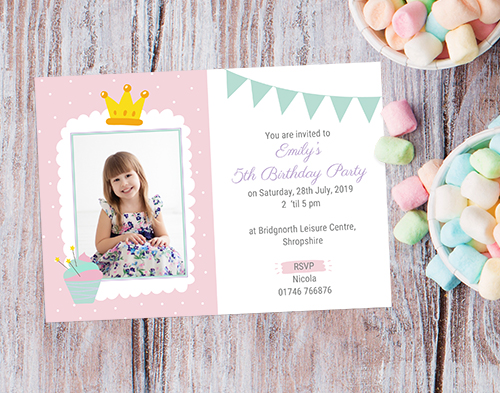 The Card Gallery - Little Princess Use Your Own Photo Birthday Invites