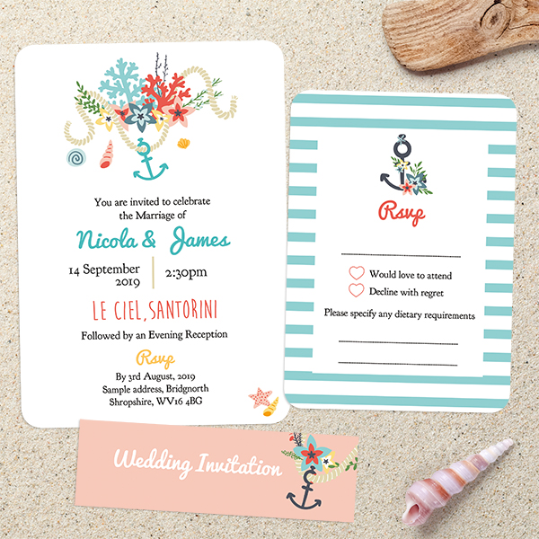 Dotty about Paper - Beach Wedding Stationery - Blue and Coral Nautical Pattern