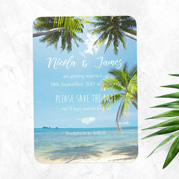 Dotty about Paper - Beach Wedding Stationery - Tropical Beach Scene