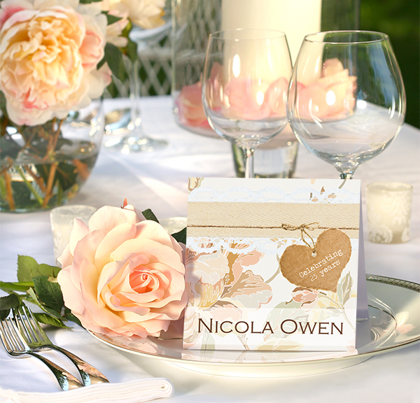 TCG - Shabby Chic Flowers Silver Anniversary Place Card