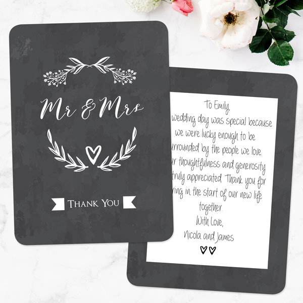 Wedding thank you cards wording help dotty about paper latest news wedding thank you wording mr mrs floral chalkboard thank you junglespirit Image collections