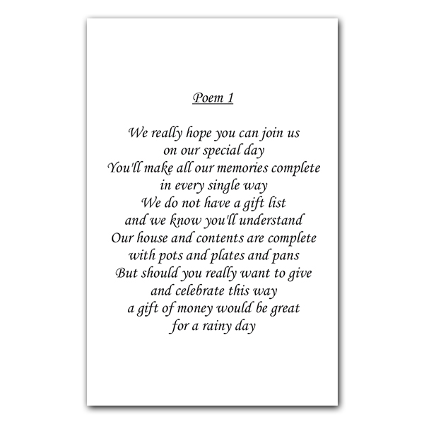 Gift Poems For Weddings: Wedding Poem Cards Dotty About Paper Latest News