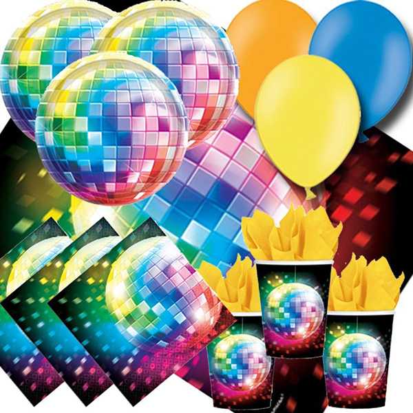 70s Disco Fever Party Pack - Cups Plates Napkins Tablecovers and Balloons by signatureballoonsandparties