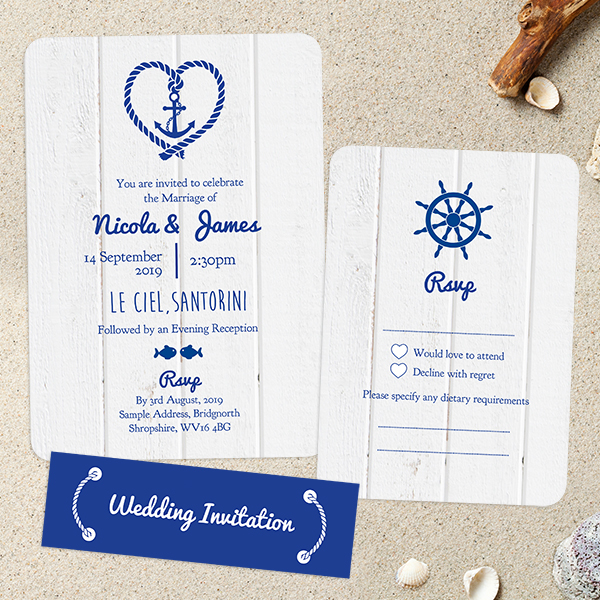 Dotty about Paper - Beach Wedding Stationery - Nautical Heart & Anchor