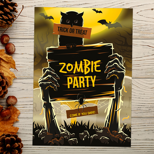 Dotty about Paper - Zombie Halloween Invitation