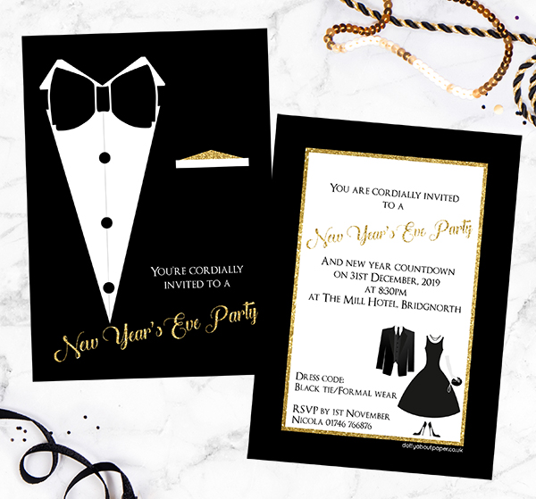 New Year's Eve Party - Black Tie Dinner Party Invitation