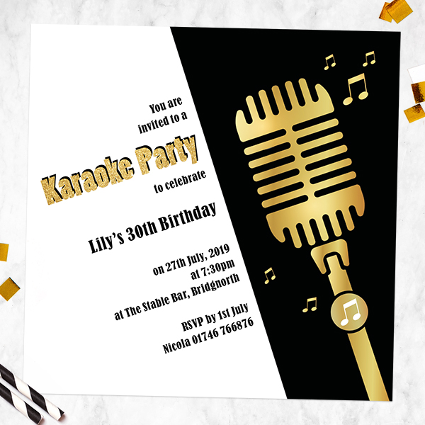 Music party themes dotty about paper latest news music party themes karaoke party birthday invitations stopboris Gallery