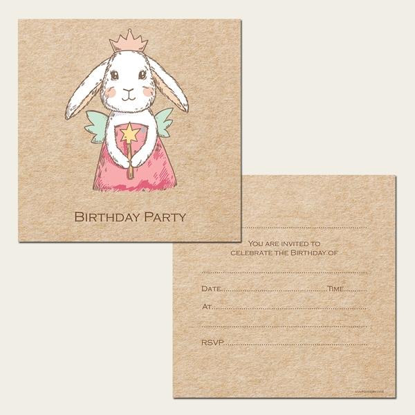 Ready to Write Kids Birthday Invitations - Bunny Fairy - Pack of 10