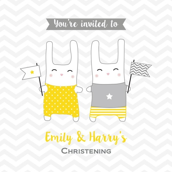 Christening Invitations - Twin Bunnies - Postcard - Pack of 10