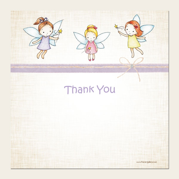 Ready to Write Kids Thank You Cards - Girls Fairy - Pack of 10