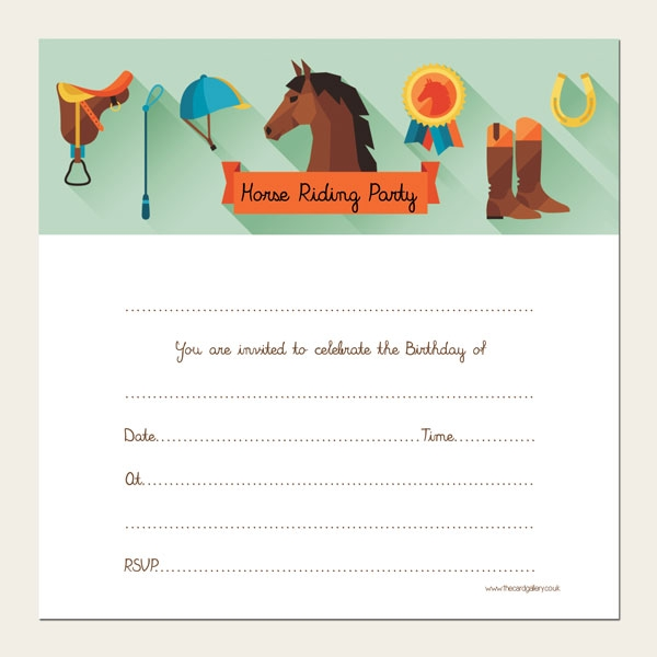 Ready to Write Kids Birthday Invitations - Horse Riding Party - Pack of 10