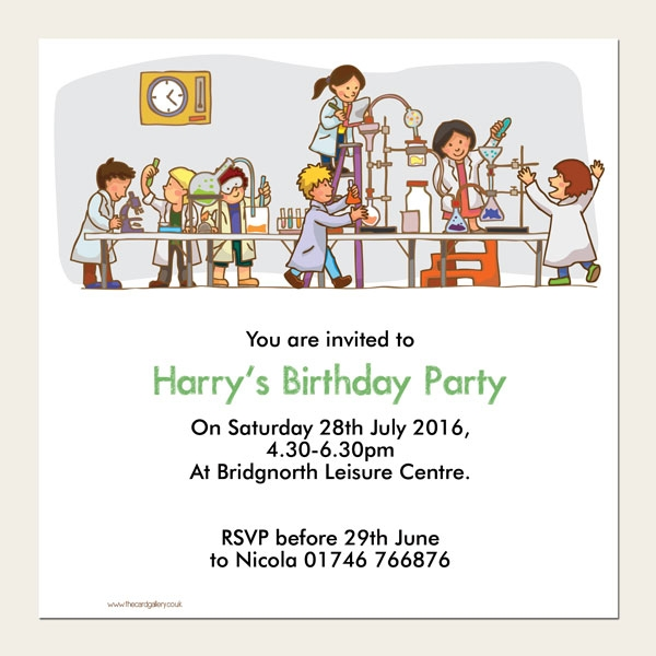 Personalised Kids Birthday Invitations - Science Party - Pack of 10