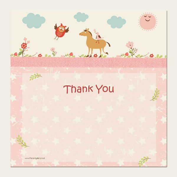 Ready to Write Kids Thank You Cards - Girls Vintage Pony - Pack of 10