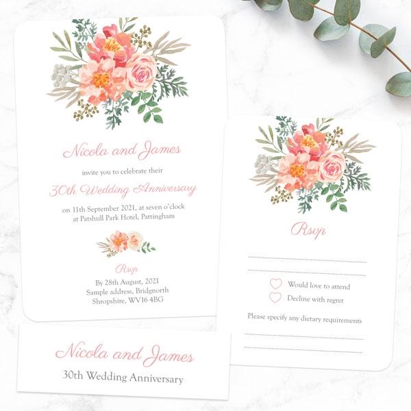 30th-Wedding-Anniversary-Invitations-Peach-Watercolour-Bouquet