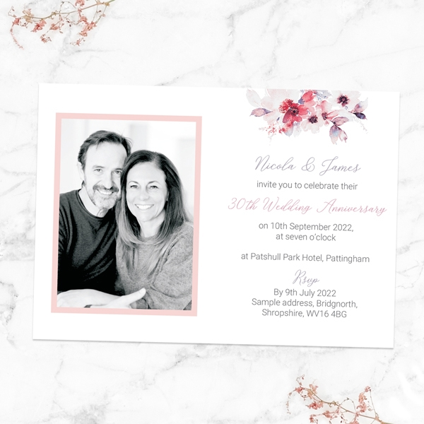 30th-Wedding-Anniversary-Invitations-Pink-Watercolour-Bouquet