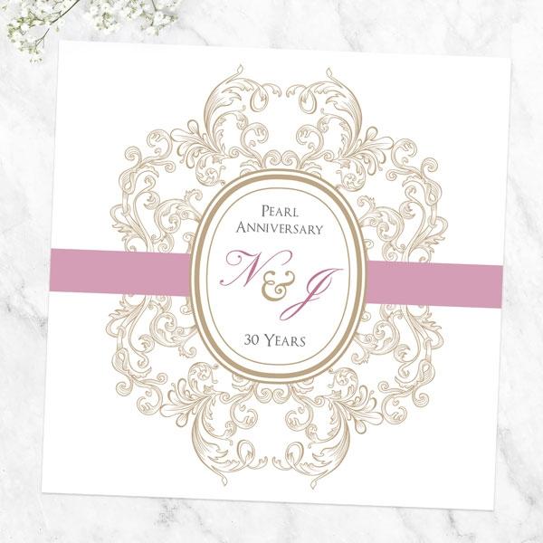 30th Wedding Anniversary Invitations - Baroque Border