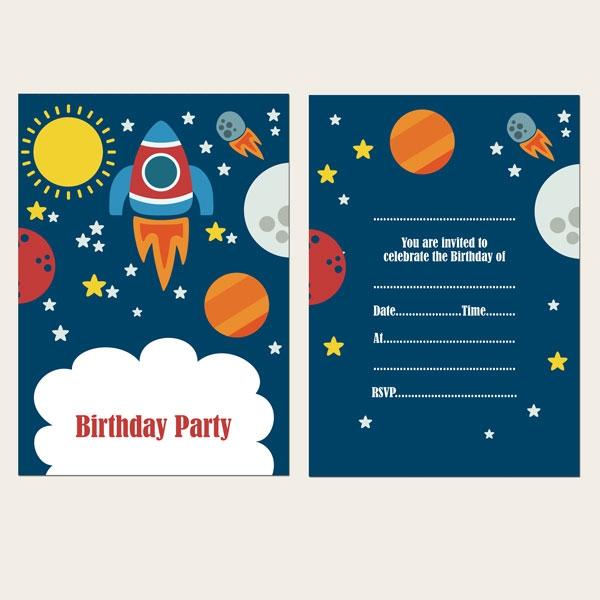 Ready to Write Kids Birthday Invitations - Rocket - Pack of 10