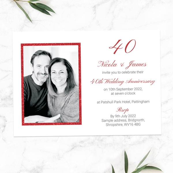 40th-Wedding-Anniversary-Invitations-Simple-Glitter-Effect