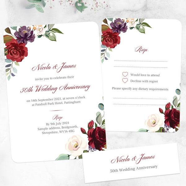 50th-Wedding-Anniversary-Invitations-Jewel-Flowers