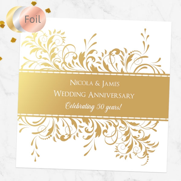50th Foil Wedding Anniversary Invitations - Antique Swirls