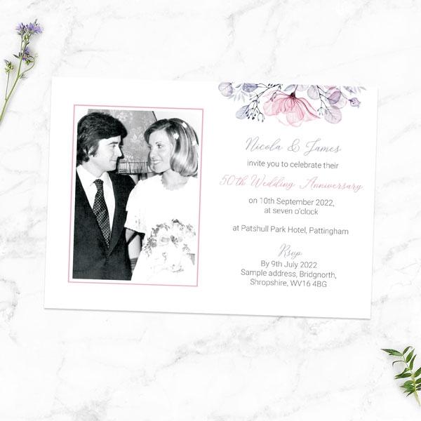 50th-Wedding-Anniversary-Invitations-Lilac-&-Pink-Flowers