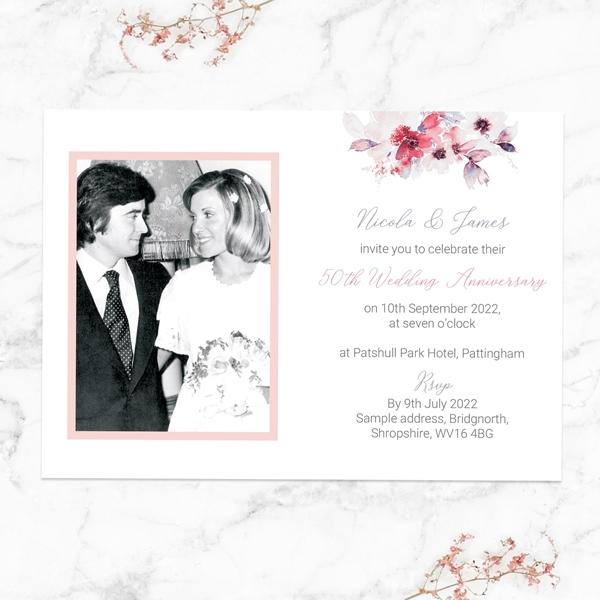 50th-Wedding-Anniversary-Invitations-Pink-Watercolour-Bouquet