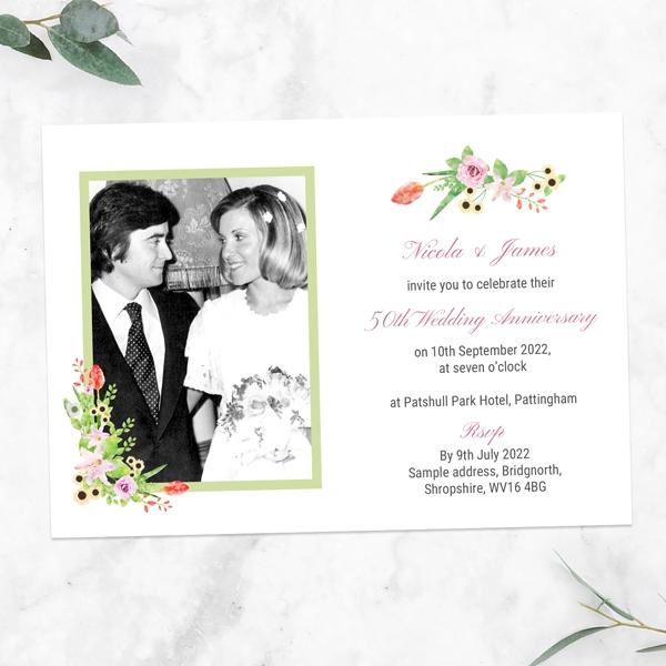 50th-Wedding-Anniversary-Invitations-Summer-Flowers