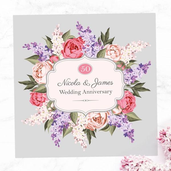 50th Wedding Anniversary Invitations Hyacinth Peony Frame