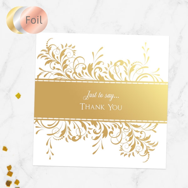 Foil Anniversary Thank You Cards - Antique Swirls