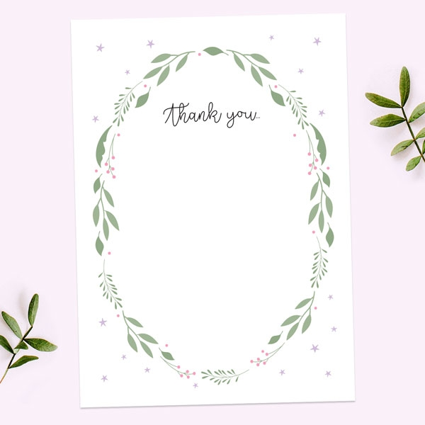 Baby-Thank-You-Cards-Girls-Foliage-Wreath
