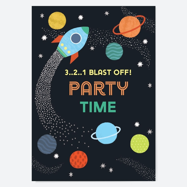 Kids Birthday Invitations Outer Space
