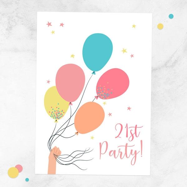 21st-birthday-invitations-tied-balloons