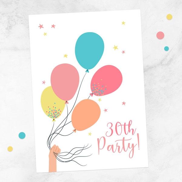 30th-birthday-invitations-tied-balloons