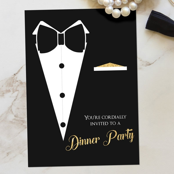 Black Tie Dinner Party - Invitations - Pack of 10