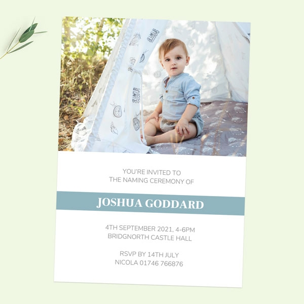 Naming Ceremony Invitations - Blue Photo Typography - Pack of 10