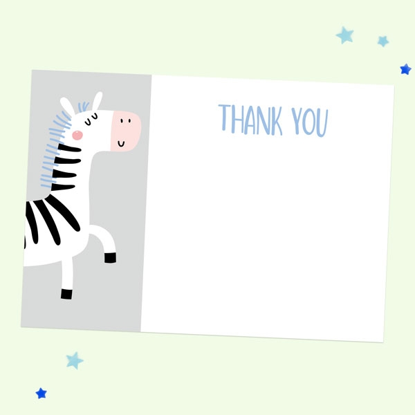 Ready to Write Kids Thank You Cards - Blue Zebra - Pack of 10