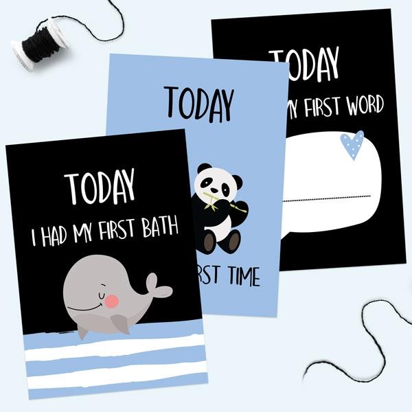 Baby Milestone Cards Phrases - Pack of 12 - Boys Monochrome