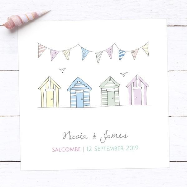 Bunting & Beach Huts - Wedding Invitations