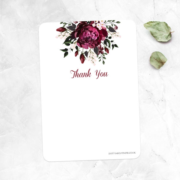 Anniversary Thank You Cards - Burgundy Peony Bouquet