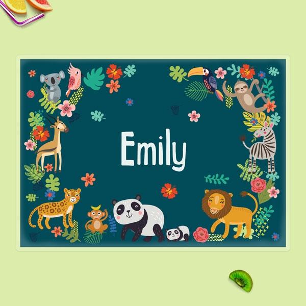 Personalised Kids Placemat - Cute Safari Animals