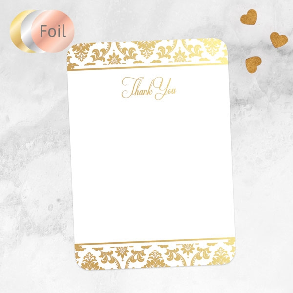 Foil Anniversary Thank You Cards - Damask Frame