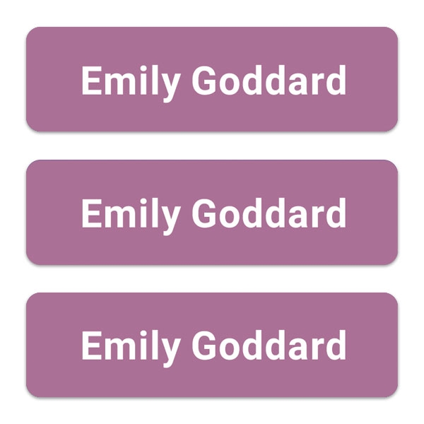 Care Home - Medium Personalised Stick On Waterproof (Equipment) Name Labels - Mauve - Pack of 42