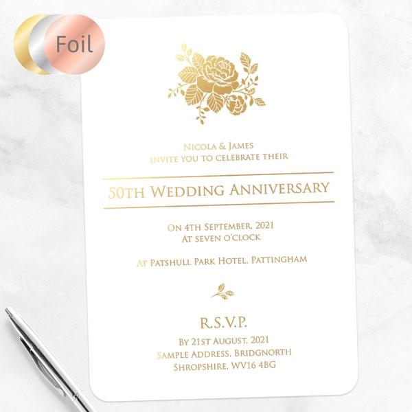 50th Foil Wedding Anniversary Invitations - Elegant Rose
