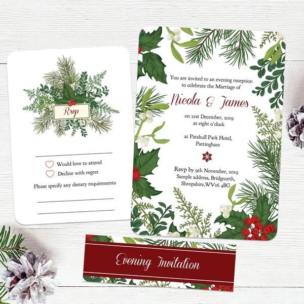 Festive Winter Foliage - Boutique Evening Invitation & RSVP
