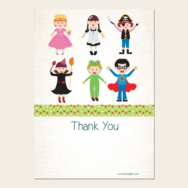 Ready to Write Kids Thank You Cards - Fancy Dress Party - Pack of 10