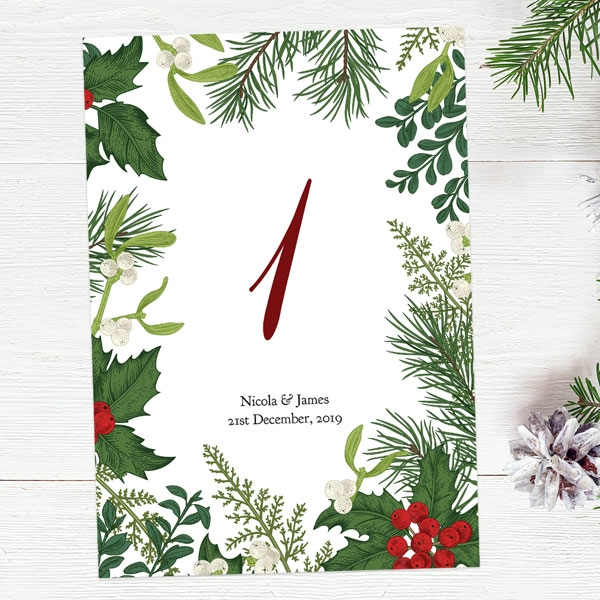 Festive Winter Foliage - Table Name/Number