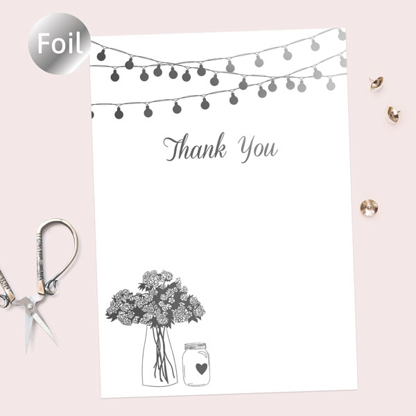 Foil Ready to Write Thank You Cards - Festoon Lights & Flowers