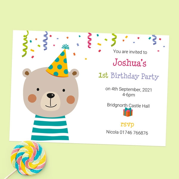1st Birthday Invitations - Fun Party Bear - Pack of 10