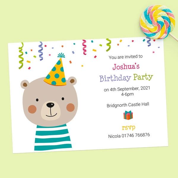 Kids Birthday Invitations - Fun Party Bear - Pack of 10