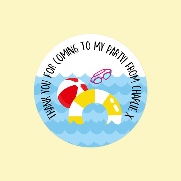 Fun Pool Party - Sweet Bag Stickers - Pack of 35